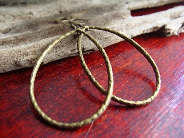 Chic Big Antiqued Brass Metal Teardrop Earrings