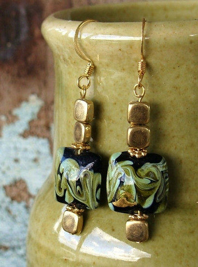 Affordable Drop Black Artisan Glass Bead Earrings