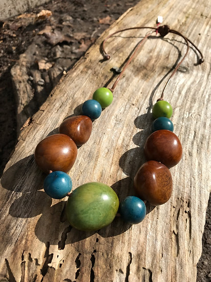 olive, aqua & brown tagua nut long necklace