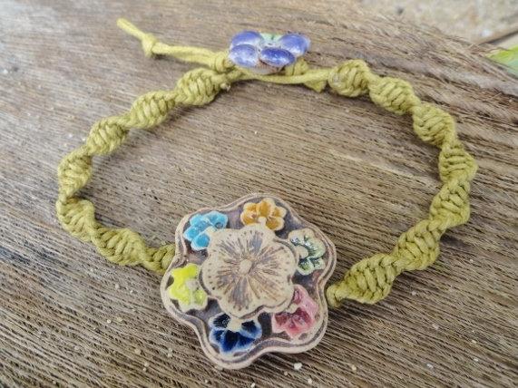 Ceramic Flower Nonmetal Macrame Kid Bracelet