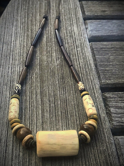 chunky antler natural bone necklace