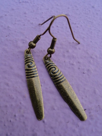 antiqued brass small dagger earrings