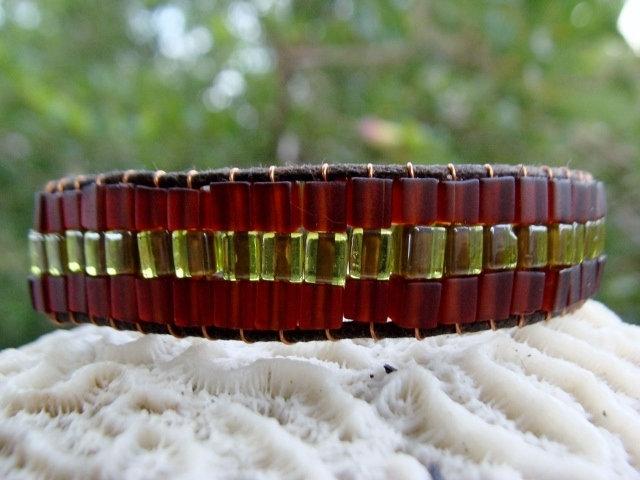 Chic Green Glass Bead Wide Beaded Bracelet