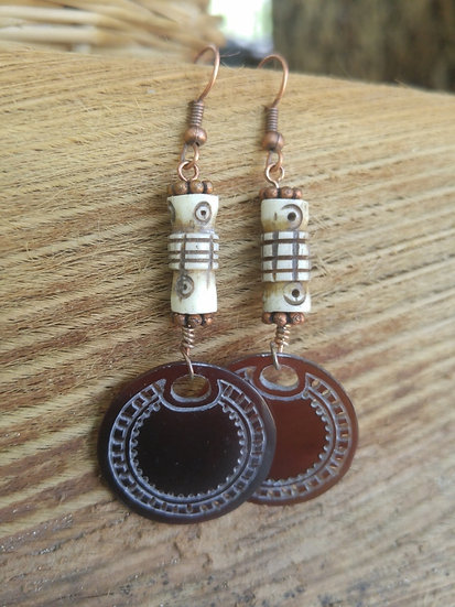 long carved shell & bone earrings