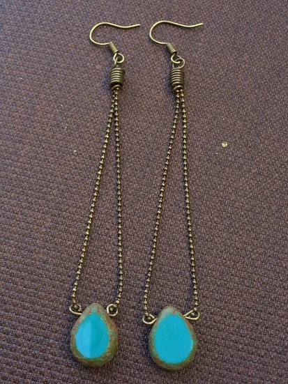 Sexy Long Aqua Teardrop Glass Bead Earrings