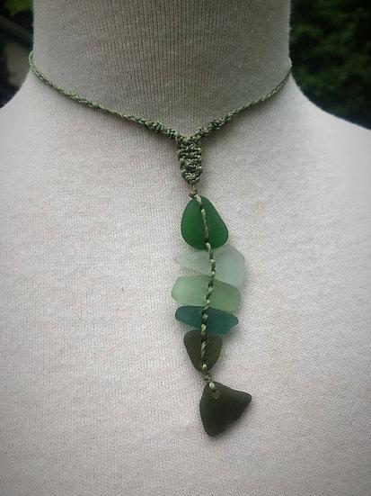 Nonmetal Green & Aqua Fish Unique Sea Glass Necklace