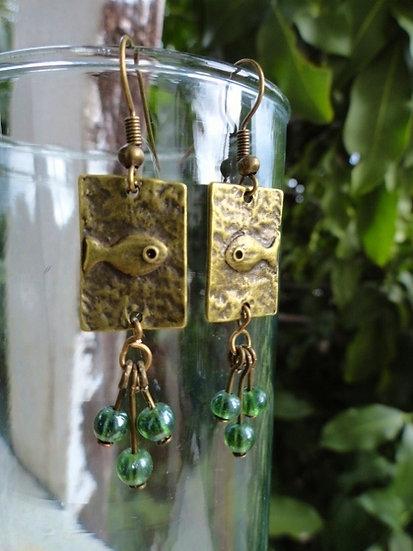 Affordable Long Dangle Brass Fish Earrings