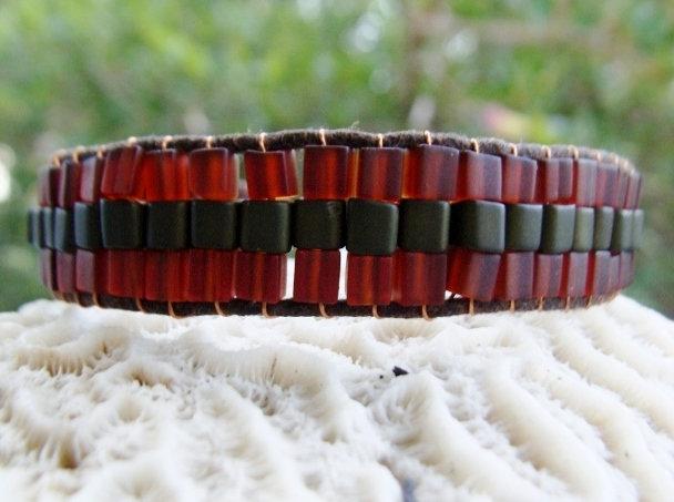 Hippie Forest & Brown Wide Glass Beaded Bracelet