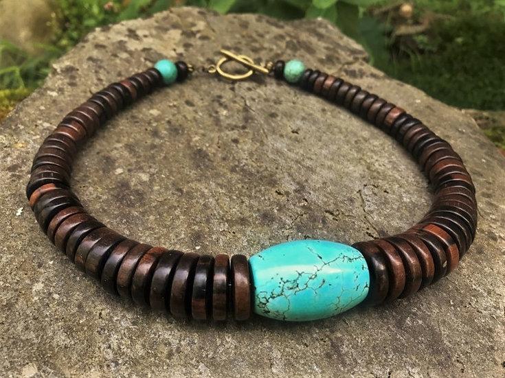 ebony wood & turquoise stone necklace