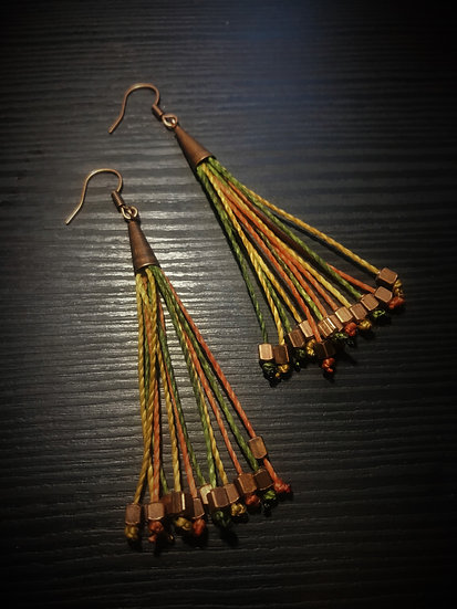 orange, gold & green long fringe earrings
