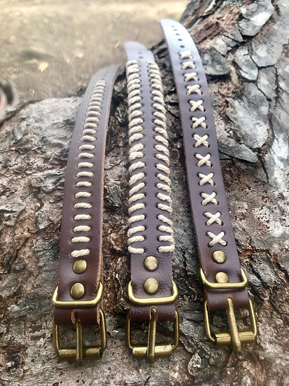 hemp and brown leather bracelets