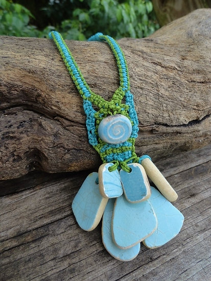 Rare Blue Ceramic Macrame Ocean Pottery Necklace