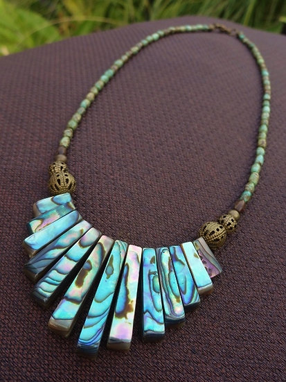 Natural Turquoise Stone & Graduating Abalone Shell Necklace