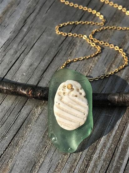 natural sea shell & seafoam sea glass necklace