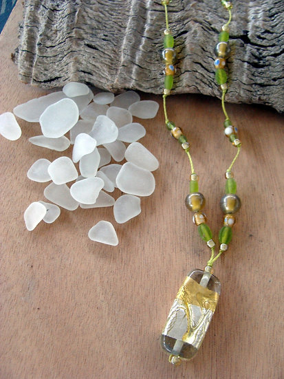 Foil Wrapped Clear Artisan Glass Pendant Necklace