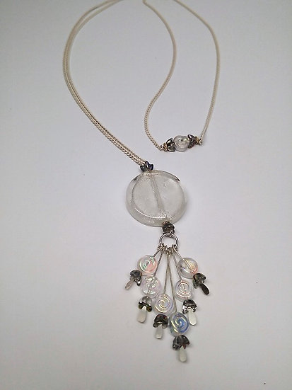 fringed white glass pendant on long necklace