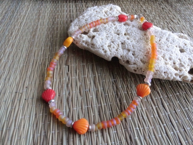 Affordable Orange Glass Bead Shell Beaded Anklet