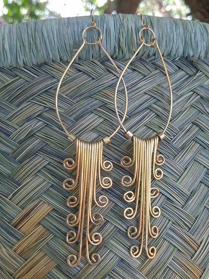 Cascading Sexy Long Dangle Brass Metal Earrings