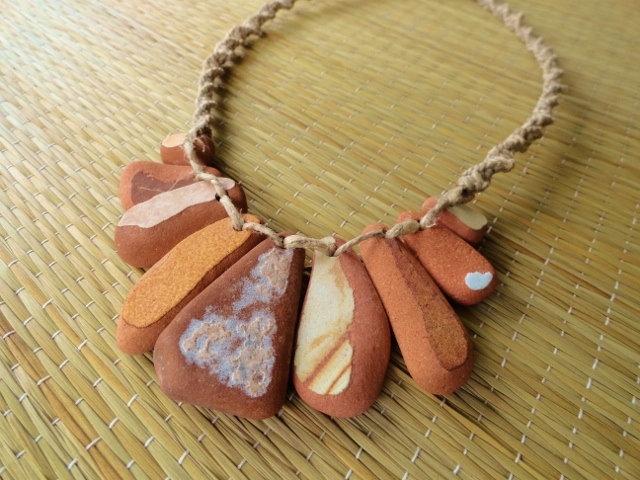 Hemp Macrame Clay Ocean Pottery Surfer Necklace