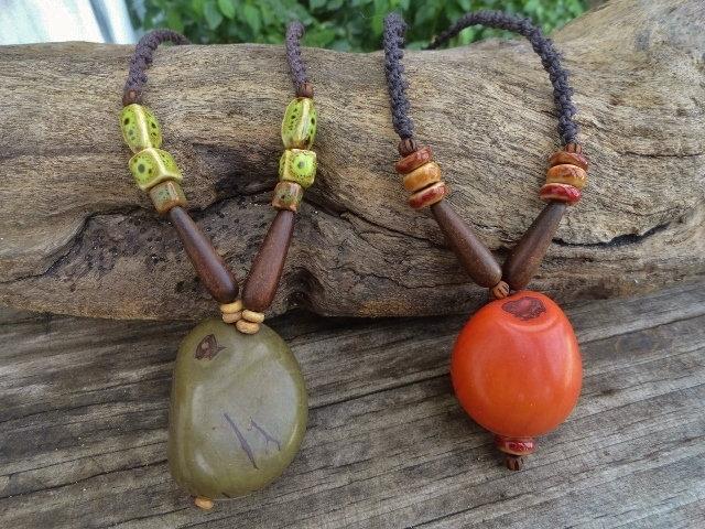 Long Macrame Olive or Orange Tagua Nut Necklaces