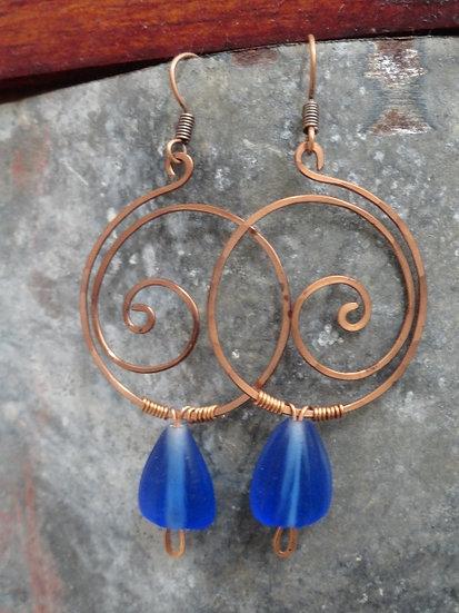 Chic Copper Hoop Blue Glass Bead Earrings