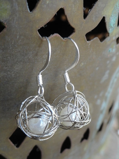 Chic Small Drop Caged Pearl Silver Earrings