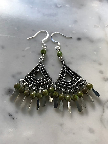 green glass bead & pewter earrings