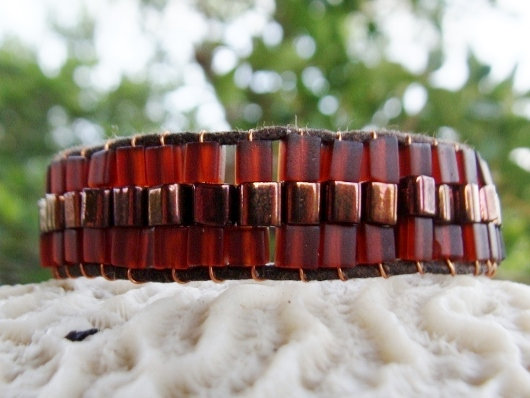 Chic Copper & Brown Wide Glass Bead Bracelet