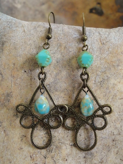 Brass Metal Seafoam Ceramic Bead Earrings