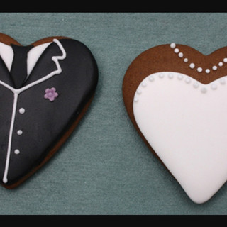 GB Heart Shaped Bride and Groom Cookies