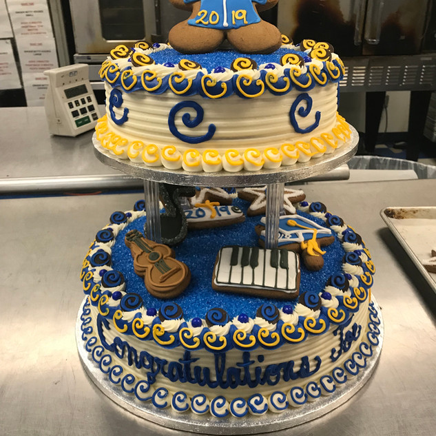 2019 2 tier graduation cake royal blue a