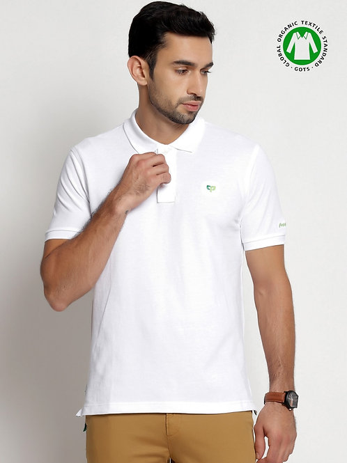 Peeppal: Organic Bright White Polo T-Shirt