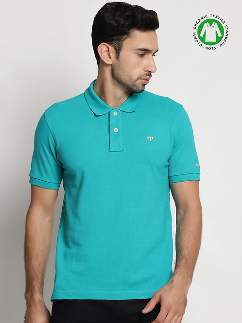 Peeppal: Tropical Green Organic Polo T-Shirt
