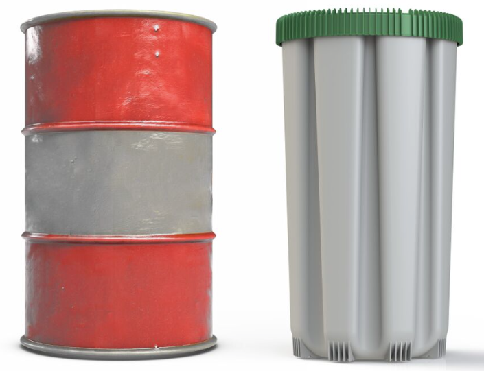 CC container compaired to a standard steel drum