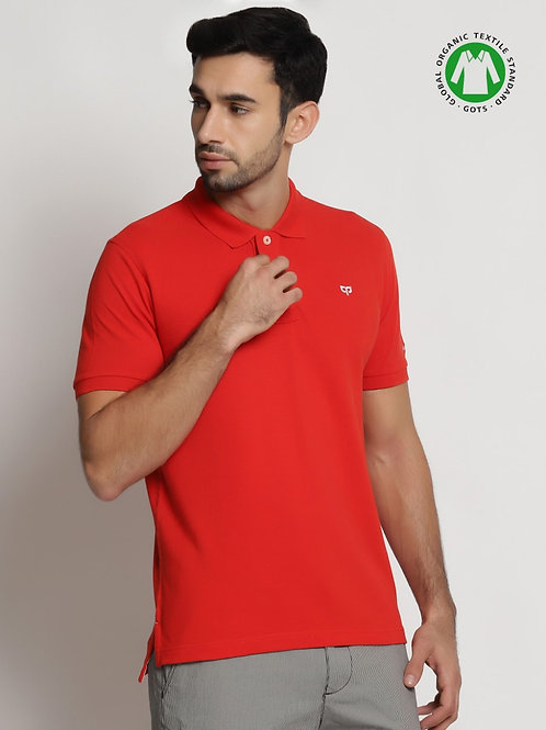 Peeppal: Aurora Red Organic Polo T-Shirt
