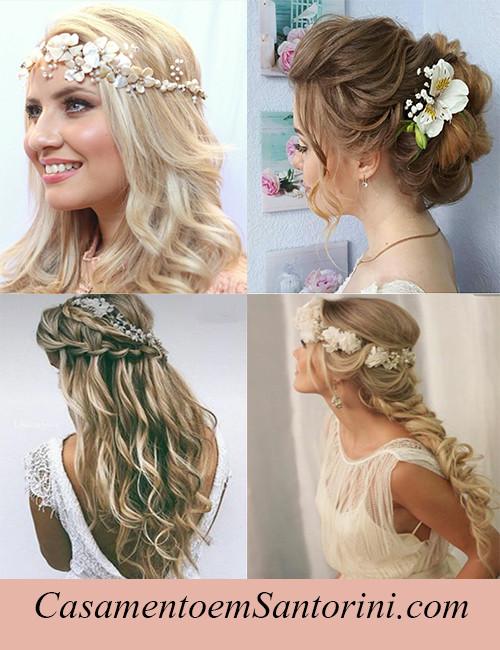 Make e penteados para noivas - Casamento em Santorini