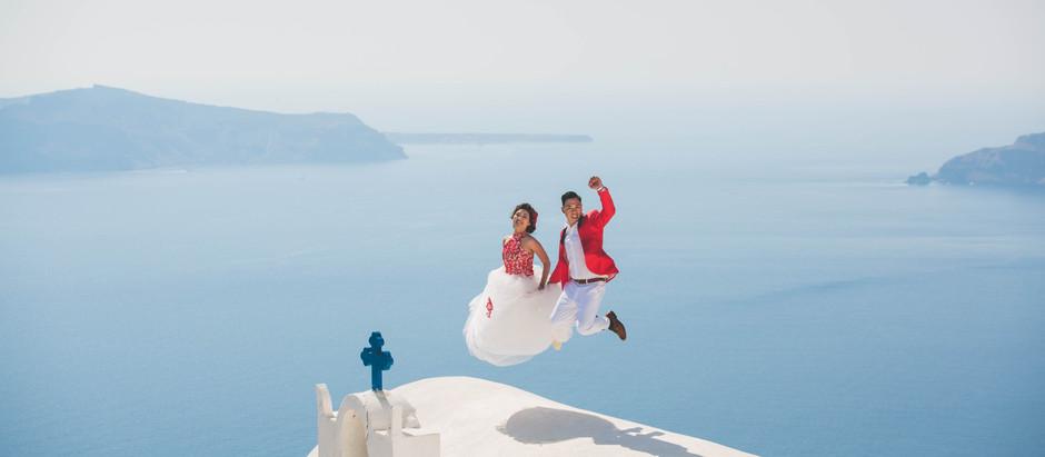 Fotos de casamento super especial em Santorini!