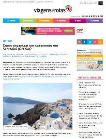 Casamento em Santorini na Mídia - Ana Elisa e Alexandre na Viagens e Rotas
