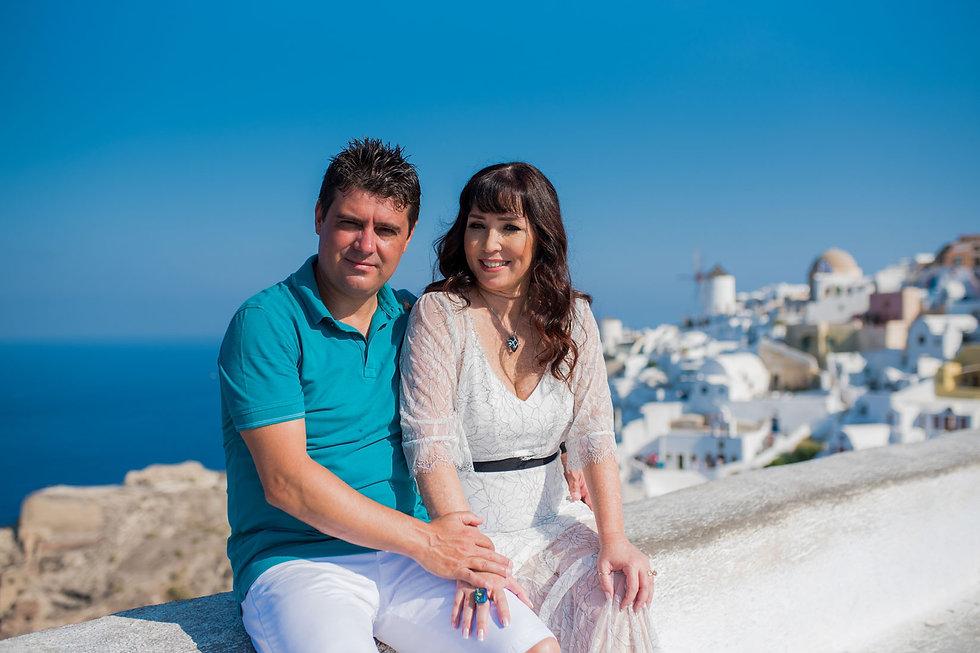 Ensaio de fotos em Santorini do lindo casal Simone e Paulo