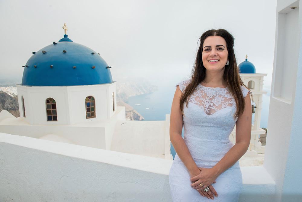 Casamento em Santorini ensaio de noiva em Santorini