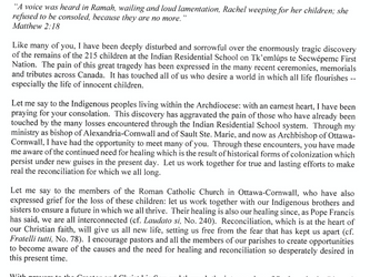 Statement from Archbishop on the Discovery of Remains of Children at Former Residential School