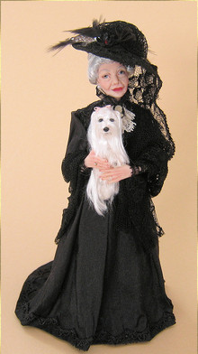 Widow with puppy