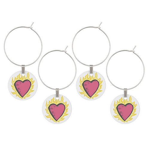 FLAMING HEART Wine Charms