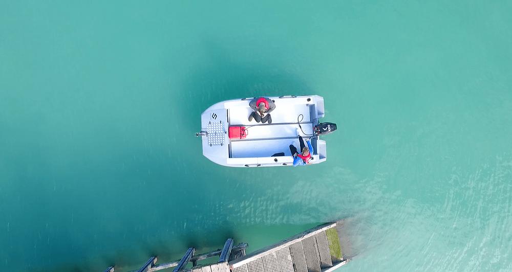 Shear Edge 4m Catamaran on the water.