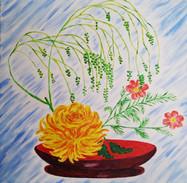 Chrysantheme auf Schale