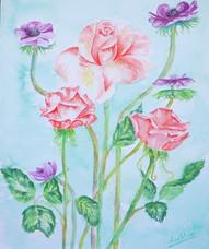 Rosen mit Anemone