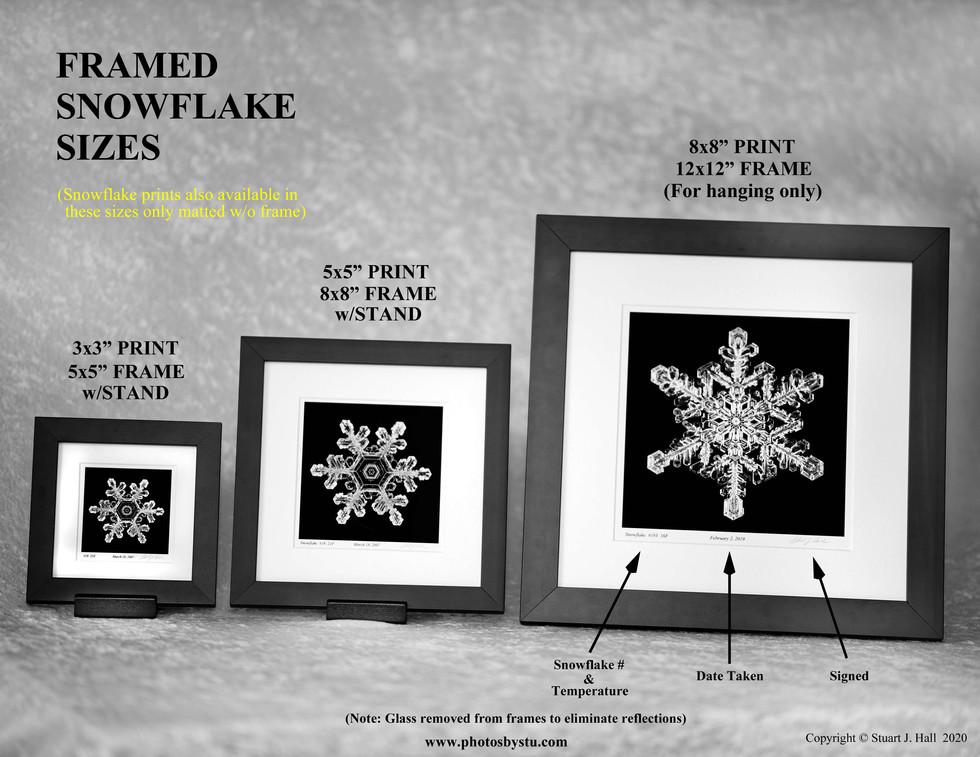 Framed Snowflake Sizes