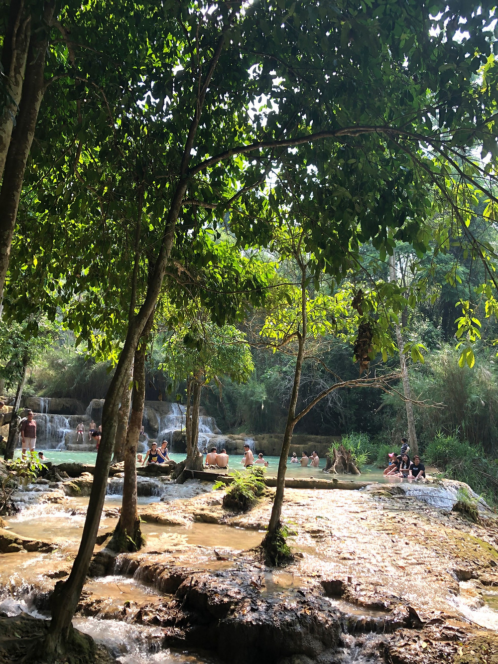 kuang si waterfall swim pool laos luang prabang