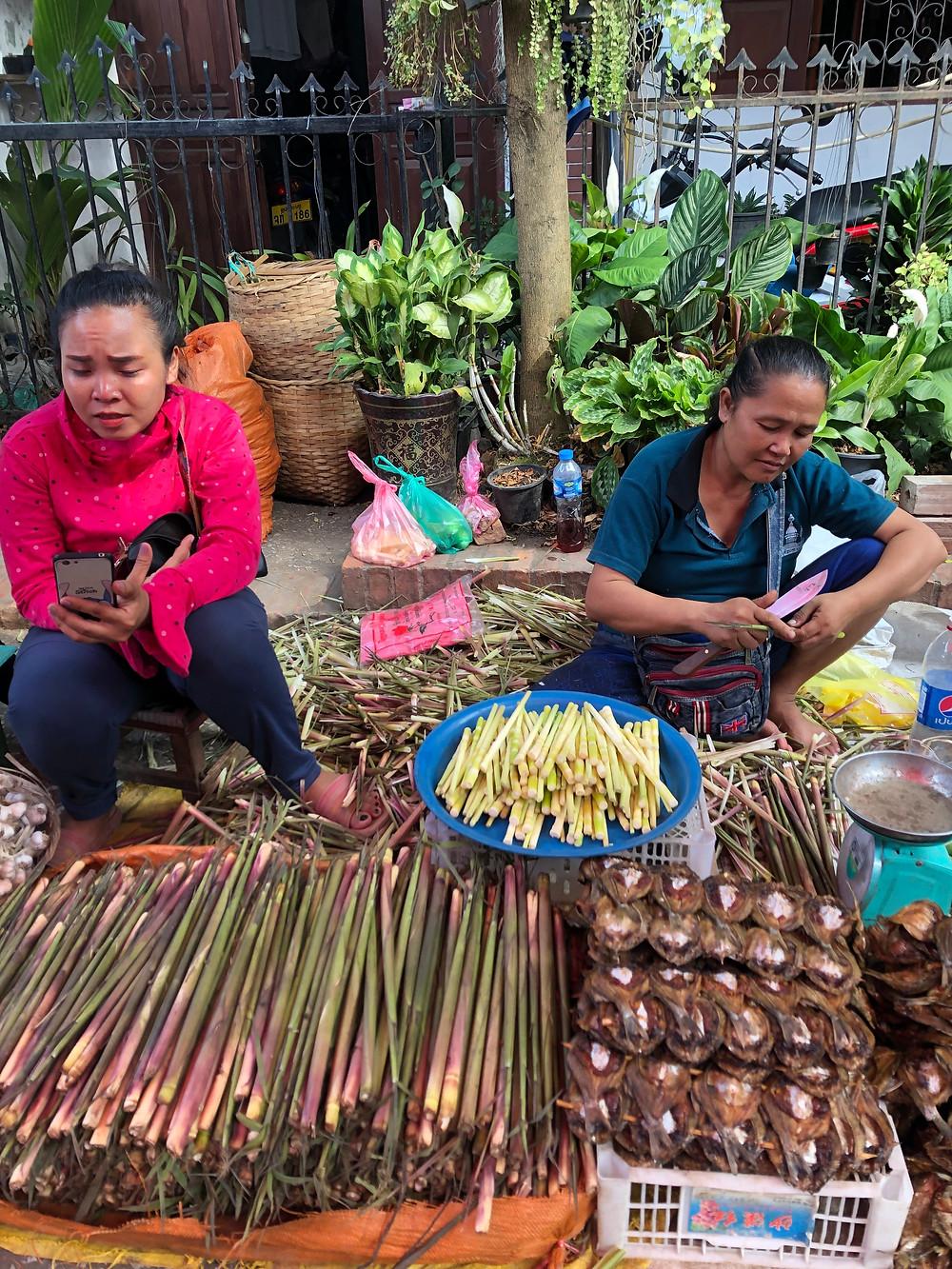 morning market laos luang prabang bamboo