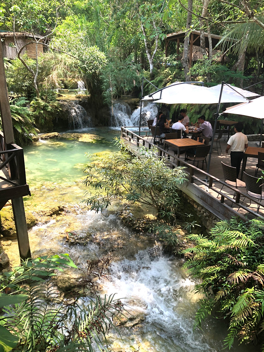 Carpe Diem restaurant waterfall laos luang prabang